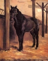 Yerres, Dark Bay Horse in the Stable - Caillebotte , Gustave  (1848-1894)