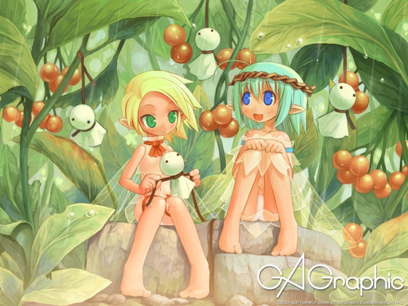 Konachan.com - 17039 - blonde_hair blue_eyes fairy gagraphic green_eyes green_hair panties shigatake teruterubouzu underwear 112