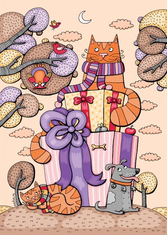 Картинки с днем рождения котики нарисованные, днем