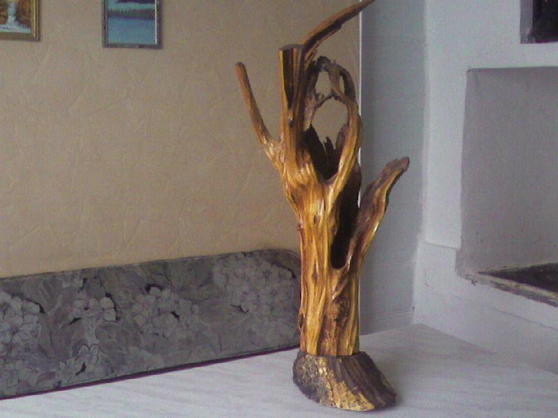 Обработка корней деревьев для поделок 55