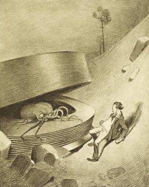 """Иллюстрация к роману """"Война миров"""" Герберта Уэллса (Прибытие марсиан)"""