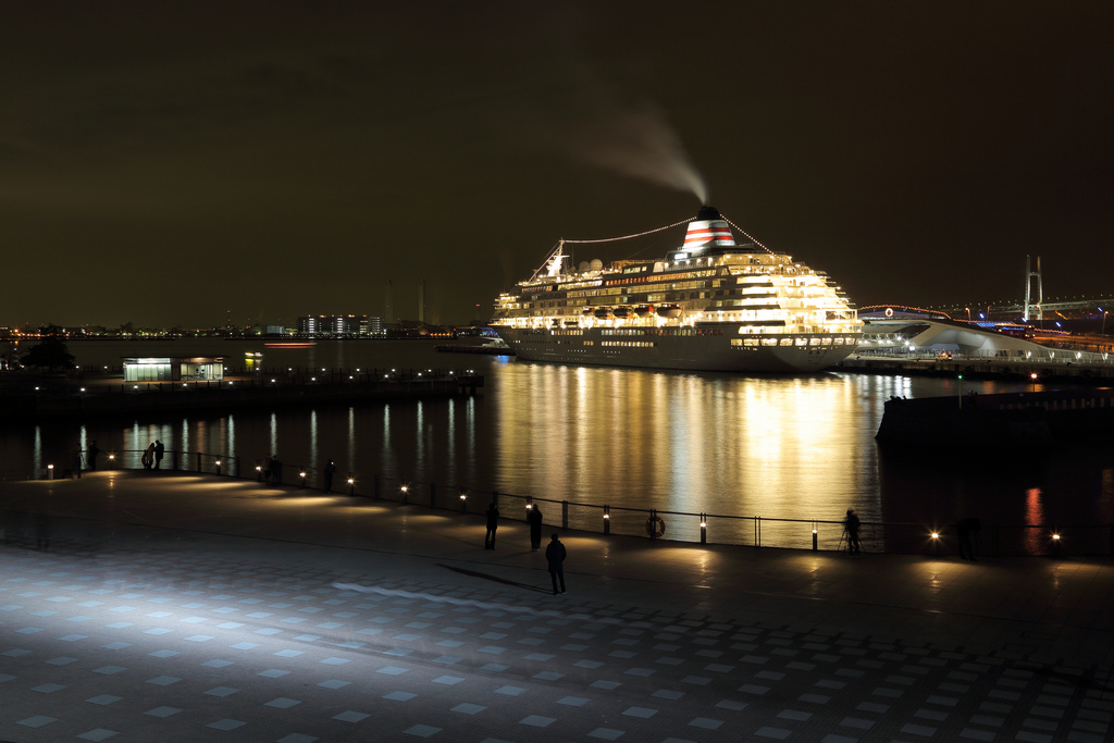 a luxury passenger ship in Yokohama harbor