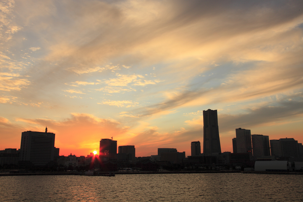 sunset in Yokohama